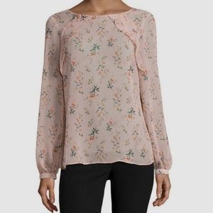 Shimmery rose gold floral blouse